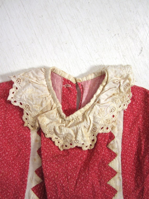 Antique Calico Dress Red Child's Long Primitive H… - image 5