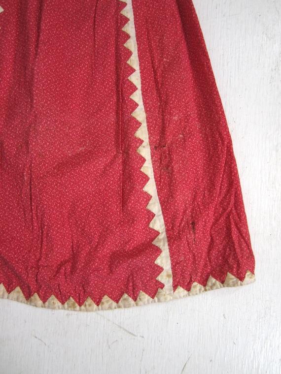 Antique Calico Dress Red Child's Long Primitive H… - image 2