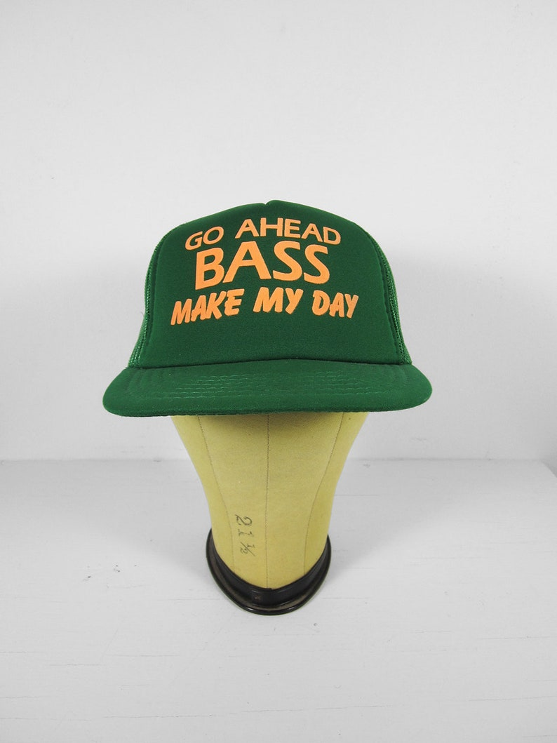 a71984582c0c84 Vintage Bass Fishing Hat Green Snapback NOS Trucker Cap | Etsy