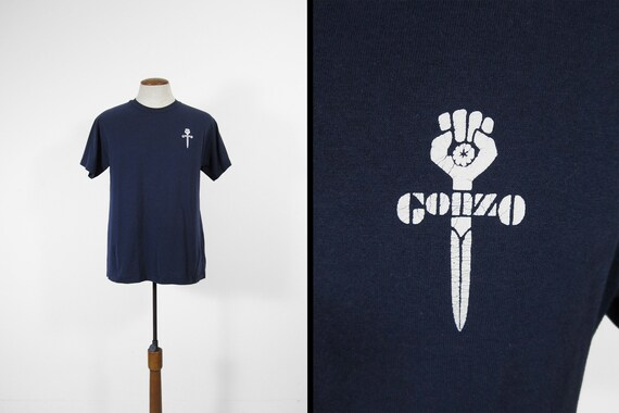 a2aee1b6eb7 Vintage Hunter S Thompson T-shirt Gonzo Fist Journalism Blue
