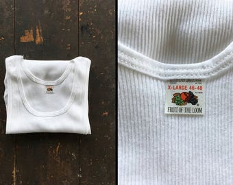 Vintage NOS 70s Undershirt Wife Beater A Shirt Deadstock White Ribbed Knit Made in USA - XL