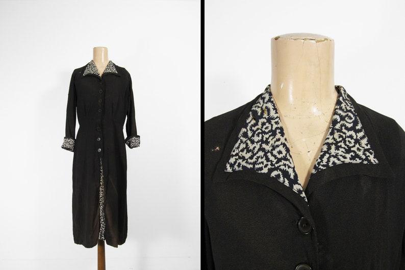 Vintage 1940s Black Dress Long Sleeve Gusset Front White image 0