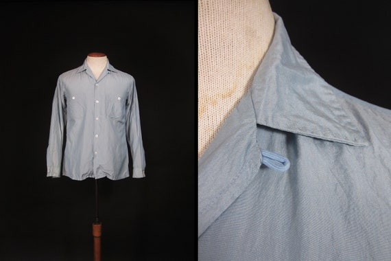Vintage 50s Blue Silk Shirt Loop Collar Rockabilly