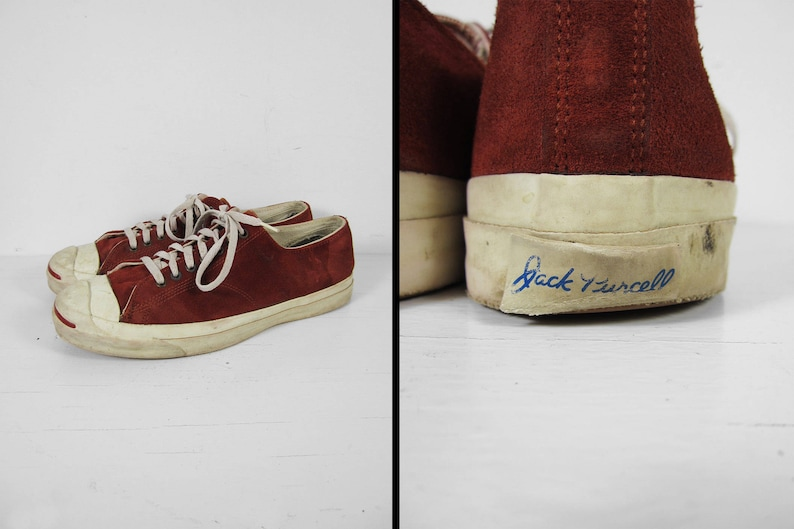 f2f914e3adb7 Vintage Converse Jack Purcell Sneakers Red Suede Low Top Made