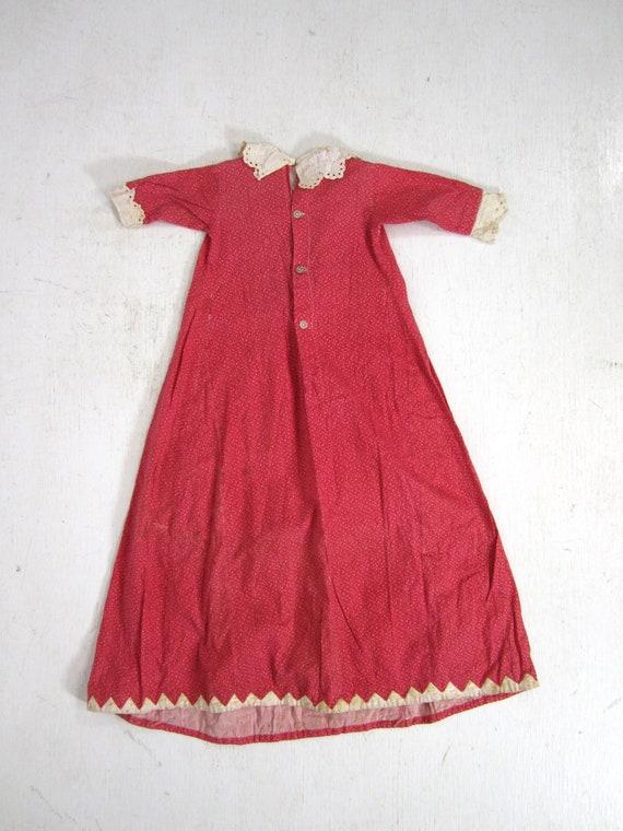 Antique Calico Dress Red Child's Long Primitive H… - image 6