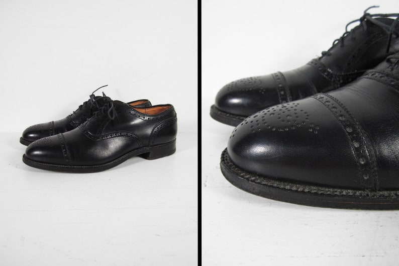 41f966350a Vintage Alden Cap Toe Dress Shoes Black Leather New England