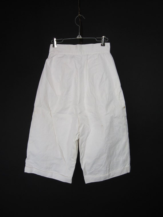 Vintage 30s 40s White Shorts High Waisted Wide Le… - image 8