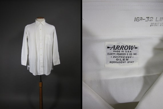 Vintage 60s Arrow White Shirt NOS Sanforized Cotto
