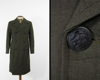 Vintage USMC Wool Overcoat Green Wool Double Breasted Trench Coat - Size 36 S