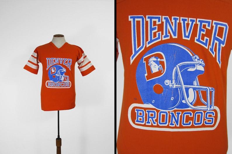 Vintage 80s Denver Broncos T-shirt Orange Crackled Football image 0