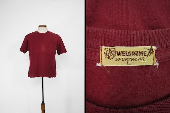 Vintage 50s Welgrume Pocket T-shirt Burgundy Cotto