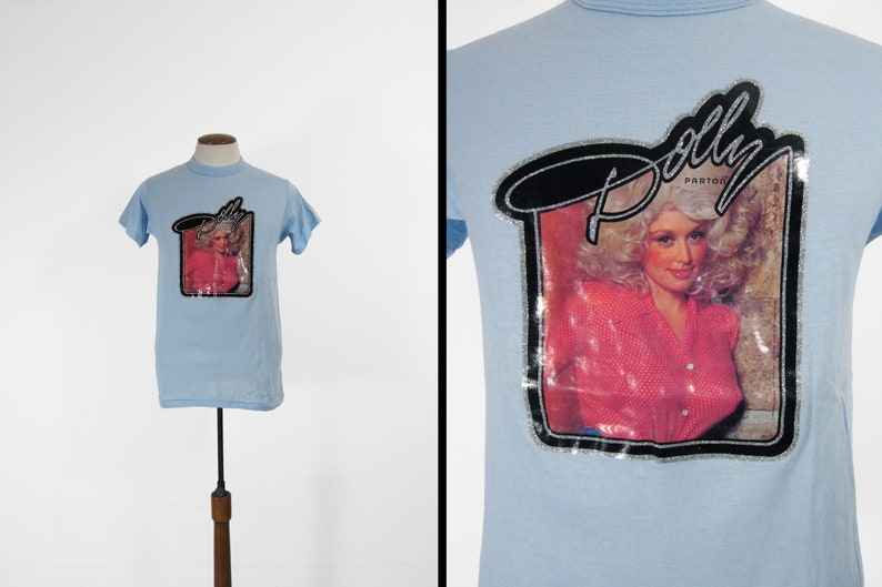 0feb61fbb Vintage 70s Dolly Parton T-shirt Made in USA Sky Blue Tee | Etsy
