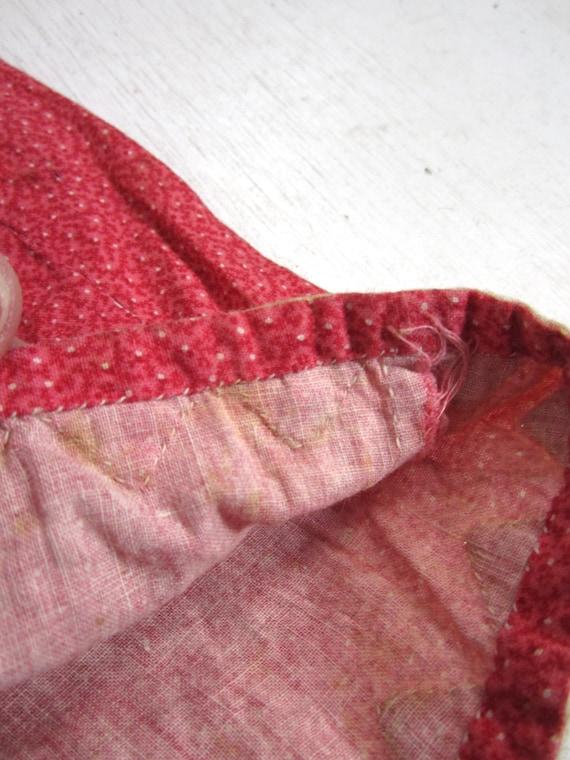 Antique Calico Dress Red Child's Long Primitive H… - image 8