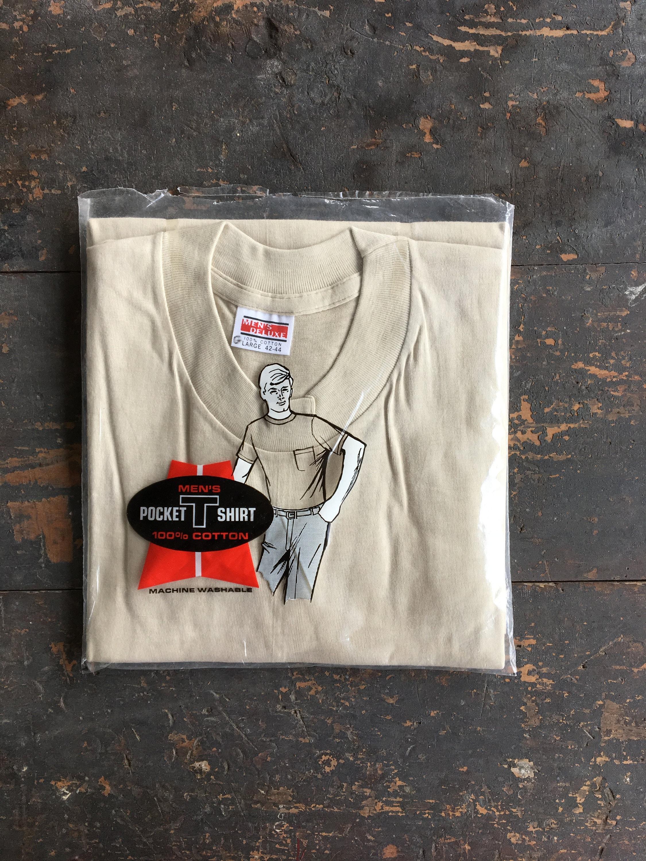1970s Men's Shirt Styles – Vintage 70s Shirts for Guys Vintage 70S Pocket T-Shirt Nos Beige Cotton Mens Deluxe Tee - Size Large $45.00 AT vintagedancer.com