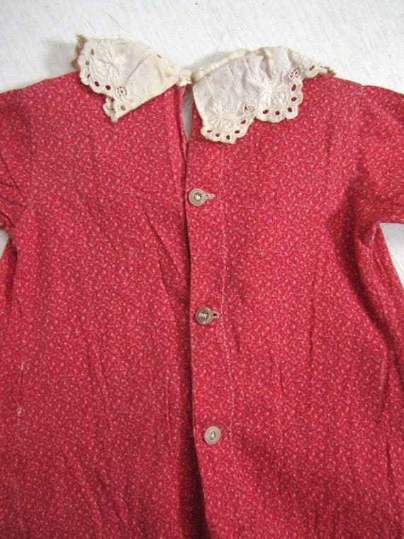 Antique Calico Dress Red Child's Long Primitive H… - image 9
