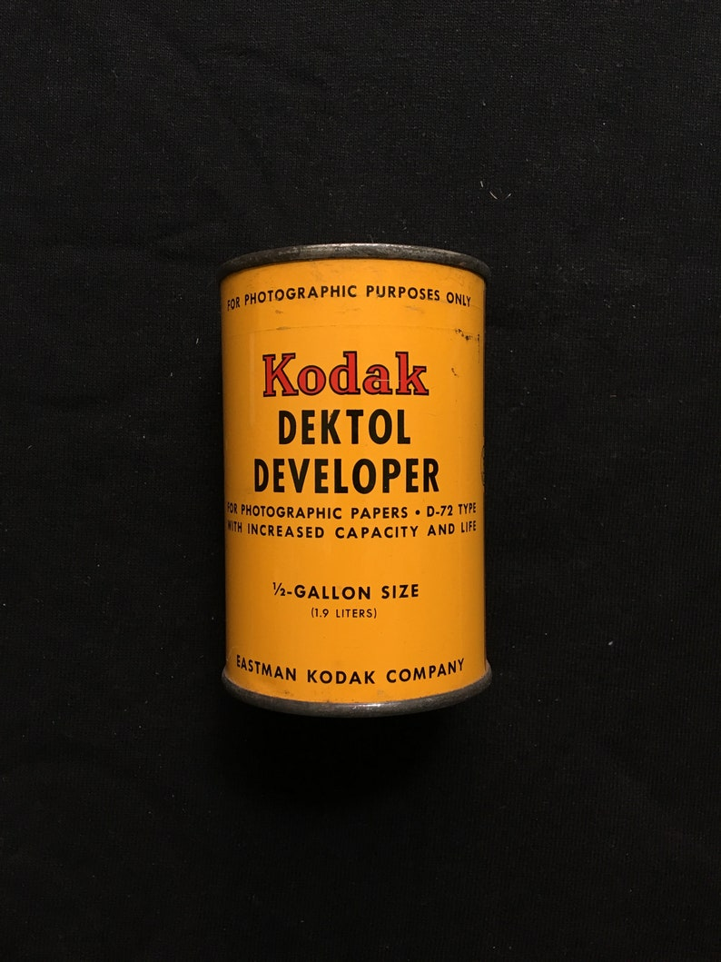 Vintage Kodak Dektol Developer Can Photography NOS Advertising image 0