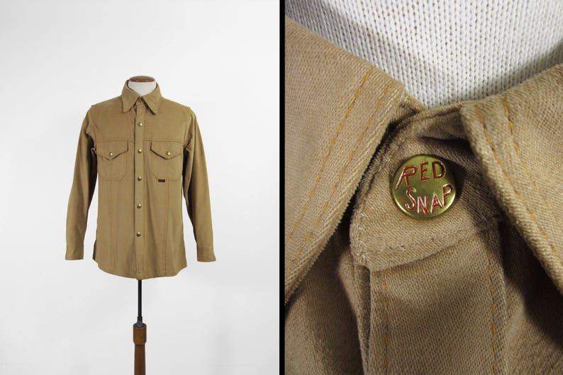 Vintage Red Snap Work Shirt Khaki Cotton Twill Long Sleeve  image 0