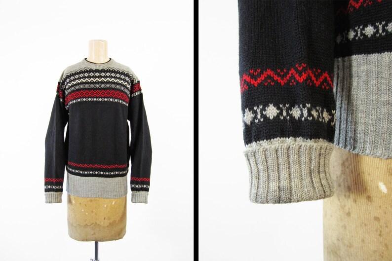 Vintage 1940s Black Wool Sweater Winter Ski Pullover Grey Red image 0