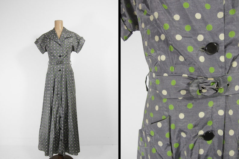 Vintage 1950s Polka Dot Dress Pockets Belted Handmade Button image 0