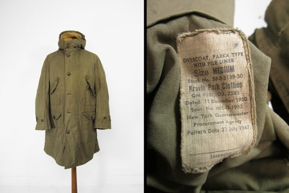 Vintage M1937 US Army Parka Type Overcoat Pile Lin