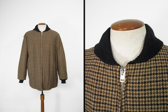 Vintage Clicker Car Club Coat Houndtooth Wool Knit