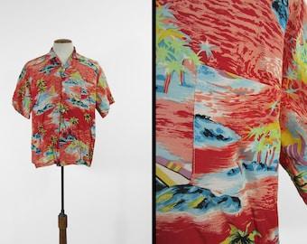 Vintage 50s Hawaiian Shirt Rayon Red Ocean Beach Print - Size Large