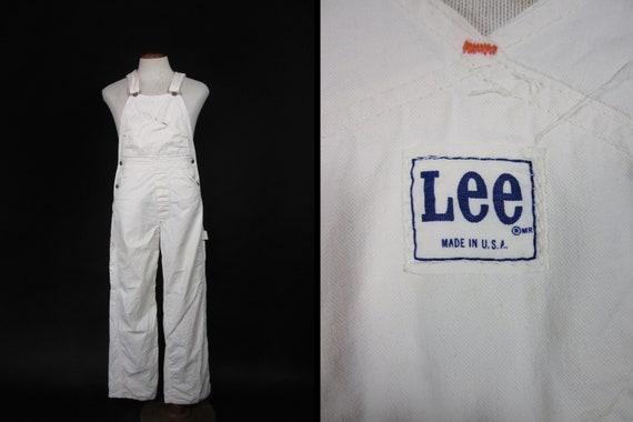 Vintage Lee White Overalls Painter's Bibs Workwear