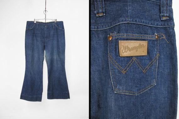 Vintage Wrangler 70s Jeans Bell Bottoms Distressed