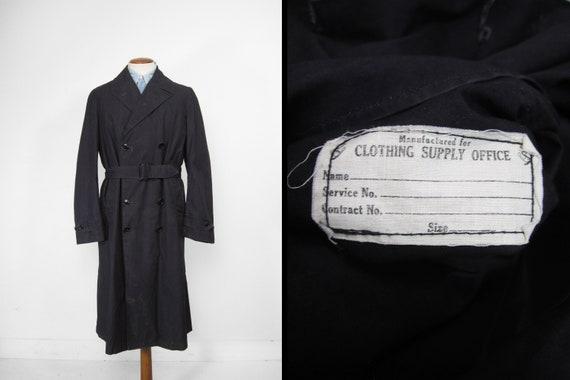 Vintage WW2 Raincoat US Navy Trench Coat Midnight… - image 1