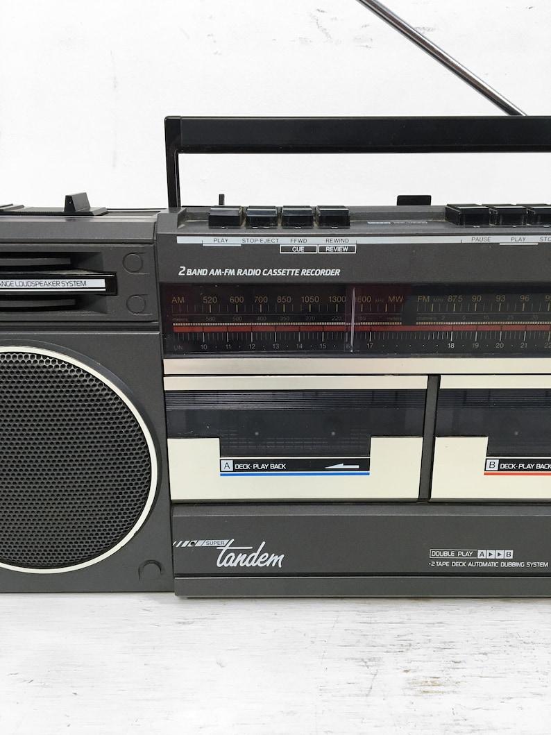 Vintage 80s Ghetto Blaster Magnavox Super Tandem D 8330 Boombox AMFM Cassette