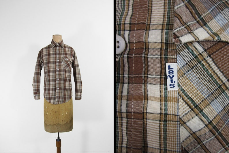 Vintage 70s Levi's Shirt Brown Plaid White Tab Long Sleeve image 0
