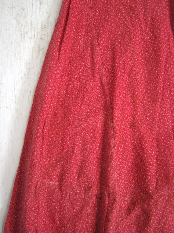 Antique Calico Dress Red Child's Long Primitive H… - image 7