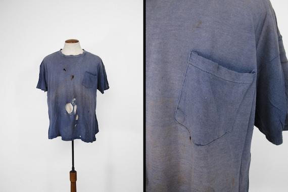 Vintage 60s Pocket T-shirt Destroyed Sun Faded Blu