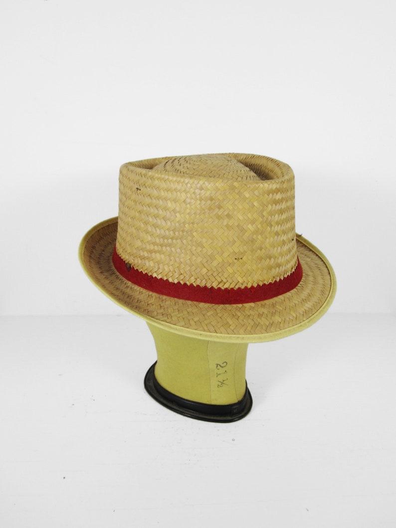Vintage Straw Fedora Hat Woven Men's Summer Cap  Medium image 0