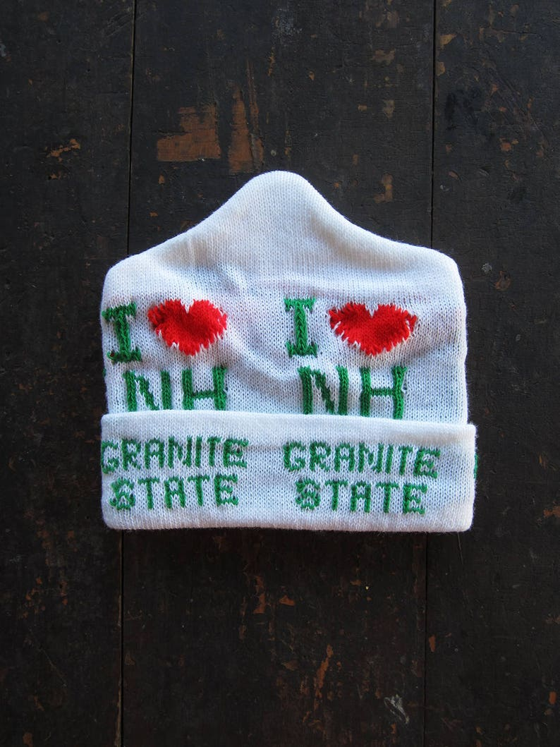Vintage Granite State Knit Hat New Hampshire NOS White Winter image 0