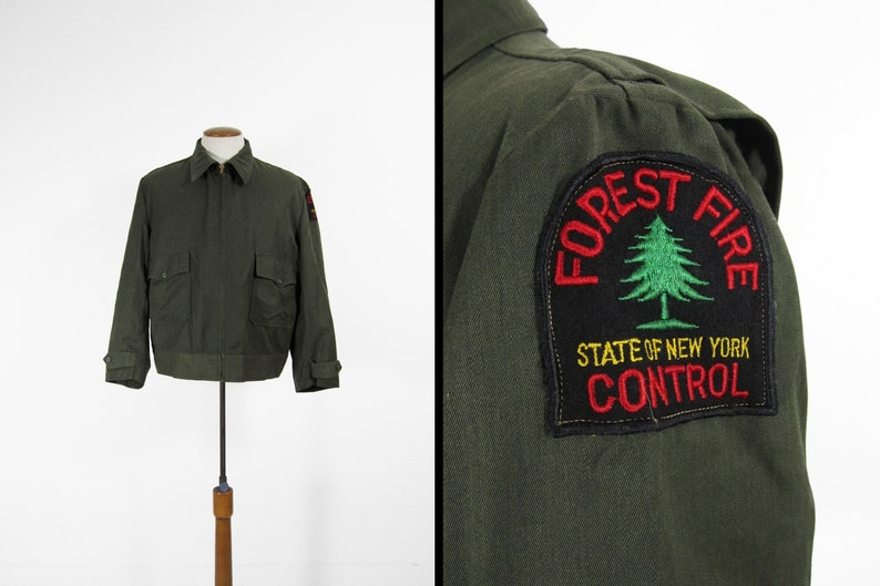 Vintage NY Forest Ranger Jacket Green Whipcord Forest Fire image 0