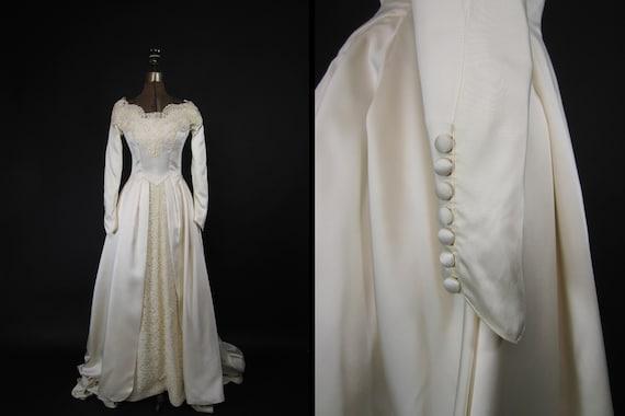 Vintage 40s Wedding Dress Beaded Satin Silk Long S