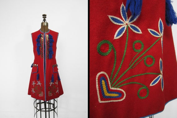 Vintage Polish Folk Dress Costume Traditional Embr