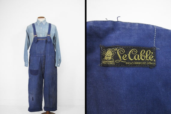 Vintage French Indigo Overalls Patched Repaired Wo