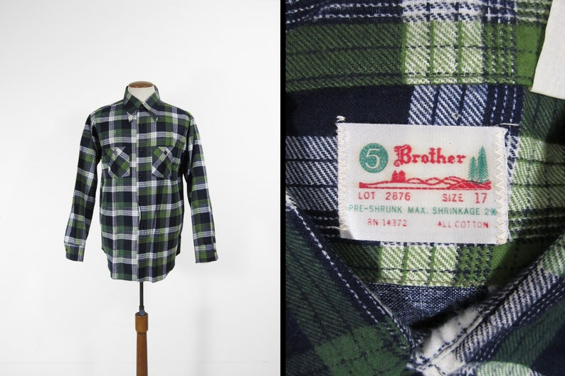 Vintage NOS 5 Brother Flannel Shirt Green Cotton Workwear  image 0