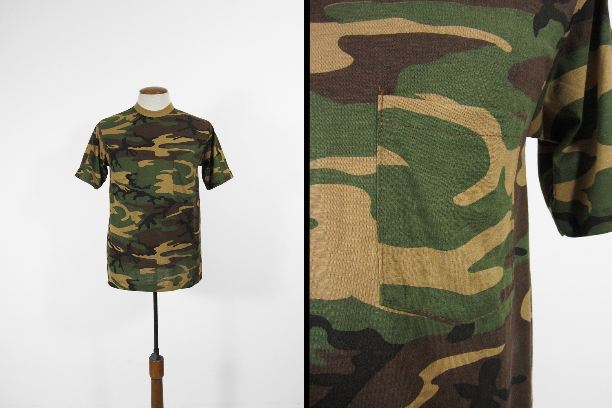 1970s Men's Shirt Styles – Vintage 70s Shirts for Guys Vintage Camo Pocket T-Shirt Nos Army Green Camouflage 1970S Tee - Medium $30.00 AT vintagedancer.com