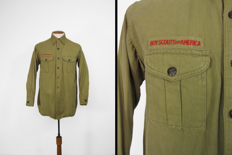 1940s Mens Ties | Wide Ties & Painted Ties Vintage 1930S Boy Scout Shirt Bsa Olive Drab Cotton Twill - Medium $29.95 AT vintagedancer.com