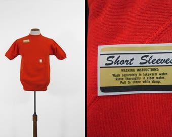 Vintage NOS Sweatshirt Tee Orange T-shirt Raglan Pullover Cotton 1970s