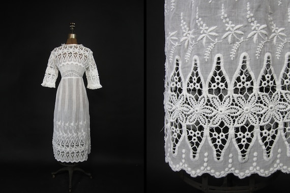 Edwardian Tea Dress 1910s White Embroidered Lace L