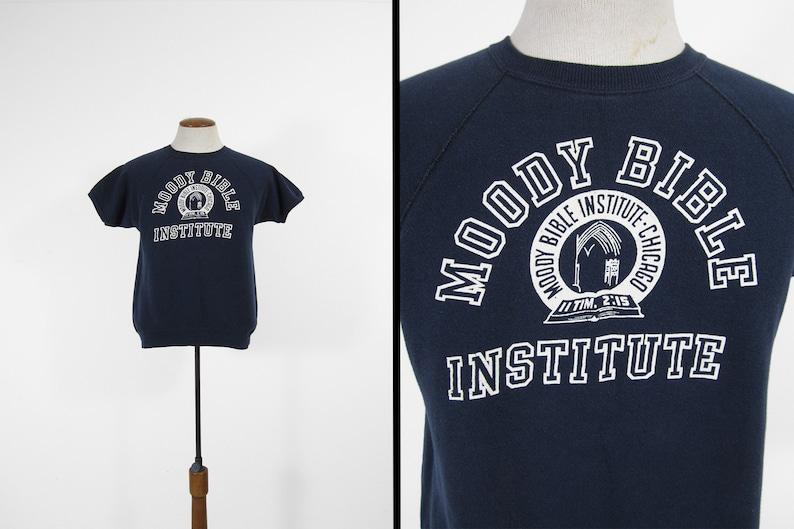 Vintage Moody Bible Sweatshirt Tee Blue Raglan College T-shirt image 0