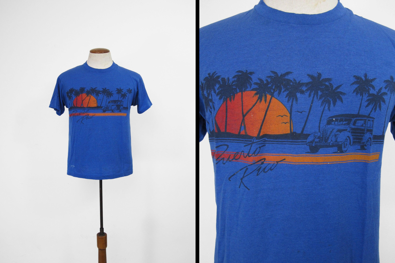 New 1930s Mens Fashion Ties Vintage Puerto Rico T-Shirt 80S Beach Woodie Distressed Blue Tee - MediumLarge $8.25 AT vintagedancer.com