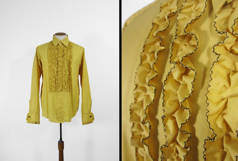Vintage Gold Ruffle Tuxedo Shirt 1970s Yellow Tux Button Up image 0