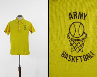 Vintage Army Basketball Polo Shirt T-shirt Collared 1970s Gym Shirt - Large