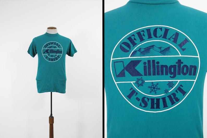 Vintage Killington VT Ski T-shirt Blue Green 80s Skier Tee  image 0