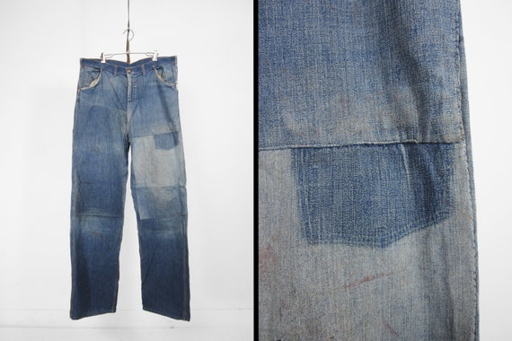 Vintage 50s Patched Work Jeans Denim Dungarees Wor